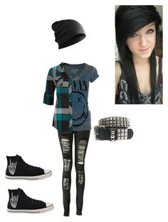 """""""Nirvana emo"""" by alone-by-fate ❤ liked on Polyvore featuring Boohoo, Chaser, Full Tilt, Converse, women's clothing, women, female, woman, misses and juniors"""