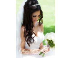 This bride had beautiful long dark hair that looked amazing with her #veil and #tiara