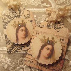 Crowned  Elegant Religious Tags by No108BellaVista on Etsy