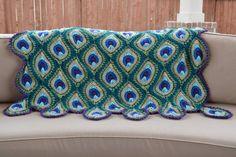 Peacock Crochet, Crochet Sunflower, Peacock Pattern, Crochet Blanket Patterns, Crochet Motif, Afghan Crochet, Crochet Stitches, Feather Blanket, Crochet Crocodile Stitch