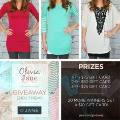 I just entered this great giveaway from Jane.com and Olivia & Jane!  Products are great for last minute gifts.  Caution: some of the blouses are very thin & not necessarily made for the petite woman.  But the home goods are GREAT!!