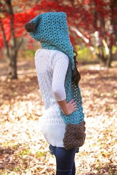 Blue Dream Scarf Hoodlet with Pockets Crochet by JackieMoon, $4.99