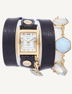Gold Square Case. Navy Strap with gold rivets. Rainbow Clear Chalcedony Removable Bracelet