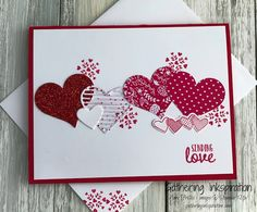 handmade card, valentine card, love card, diy, handmade valentine card, hand stamped, hearts, red glimmer, red & white, demonstrator, paper crafting, hobby, easy, quick, rubber, stamps, stamping, craft, stampin up, paper, *Stampin' Up, by Amy Frillici, Gathering Inkspiration, order products online at amysuzanne.stampinup.net