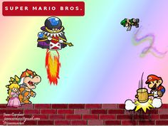 Título: Mario Bros Forever.  Fuentes:  pristina,  constance;  Pinceles:  gimp brush pipe,  gimp brush pipe #8,  gimp brush pipe #3,  gimp brush pipe #13,  gimp brush pipe #7,  glitter_9,  edge_7,  prowler's GBP 2-3.