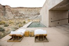 Exploring the gorgeous red rocks and canyons nearby is just one good reason to head to Utah's Amangiri Resort. Outdoor Spaces, Outdoor Living, Outdoor Decor, Amangiri Resort Utah, Amangiri Hotel, Exterior Design, Interior And Exterior, Architecture Design, Concrete Architecture