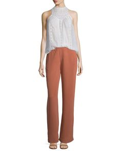 Joie Seta Voile Lace Sleeveless Top In Porcelain Joie Clothing, Cotton Viscose, Flare Pants, Silk, Lace, Clothes, Outfits, Tops, Dresses