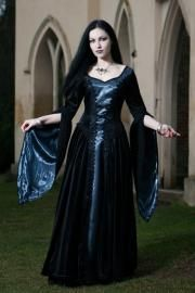 Philomena Silver Taffeta Gothic Medieval Dress