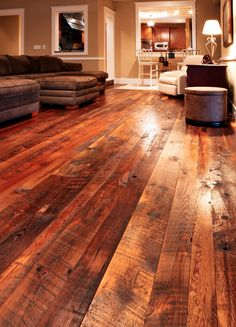 Barn wood flooring. Love this! if i do decide to build, this is a must!