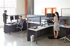 Take a break from sitting during your workday with the VARIDESK Cube Plus 48 Height-Adjustable Standing Desk. Perfectly designed to fit in a cubicle, this Open Space Office, Office Workspace, Ergonomic Computer Workstation, Sit Stand Desk, Adjustable Height Desk, Desk Accessories, Workplace, Improve Yourself, Home