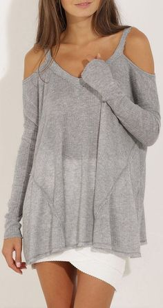 Comfy Off The Shoulder Thermal Sweater ❤︎