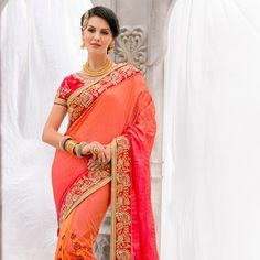 Buy Half N Half Art Silk and Net Saree in Peach, Pink and Orange online, work: Embroidered, color: Orange / Peach / Pink, usage: Wedding, category: Sarees, fabric: Art Silk, price: $150.56, item code: SDS2951, gender: women, brand: Utsav
