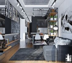 Beautiful living room design with monochrome theme...   Visit : roohome.com    #livingroom #design #decoration #amazing #awesome #gorgeous #great #fabulous #Unique #simple