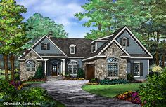 The Adrian Plan is NOW AVAILABLE for purchase! Learn more about this small Craftsman ranch: Home Design Quick Facts: Courtyard entry garage with House Plans One Story, Best House Plans, Small House Plans, One Story Houses, The Plan, How To Plan, Plan Plan, Home Design, Small House Design