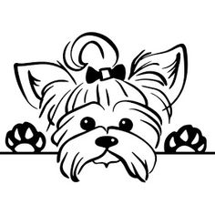 Cute little yorkshire terrier yorkie dog pet puppy peeking. Vector clipart for use with Silhouette Cameo, Cricut, DIE cut machines