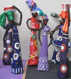 Crafts for Kids. Focusing on simple, fun and family-friendly projects, this weekly series encourages parents to spend meaningful time with their kids making crafts. African Art For Kids, African Art Projects, African Crafts Kids, Afrique Art, Art Tribal, African Dolls, 6th Grade Art, Sculpture Projects, Thinking Day