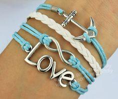 Silver Infinity Bracelet Love Bracelet  Anchor Bracelet by giftdiy, $4.99