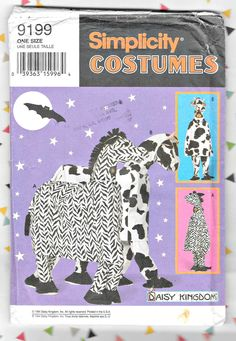 COW or ZEBRA COSTUME Sewing Pattern for One or Two Persons - Uncut Simplicity 9199, - One Size - Free Domestic Shipping Simplicity Sewing Patterns, Vintage Sewing Patterns, Two Person Costumes, Zebra Costume, Owning A Cat, Costume Patterns, Fairy Dust, Etsy Shipping, Cow