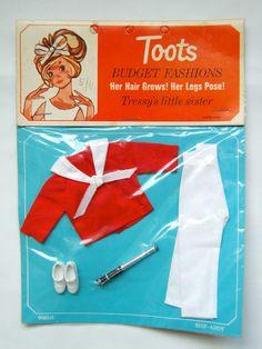VTG 60 s (Tressy &) Toots Doll Palitoy Fashion Clothes - Ship Ahoy New on Card