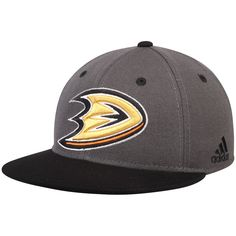 7649019372a Men s Anaheim Ducks adidas Gray Black Two Tone Fitted Hat