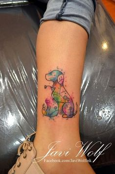 awesome Watercolor tattoo - Javi Wolf Tattoo- watercolor dog and cat friends on leg, nice...