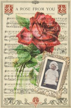 """""""A Rose From You"""" Vintage Digital Collage Background - **Replace your own photo image for your scrapbook page! ~ Wings of Whimsy"""