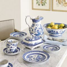 Legendary BLUE WILLOW China. High Street Market Blue Willow China Table Setting