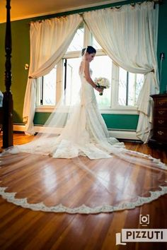 Beautiful lace Cathedral Veil in Room 5
