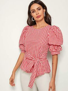 Shein Puff Sleeve Gingham Print Self Belted Top Look Fashion, Fashion News, Fashion Outfits, Designs For Dresses, Crop Top Outfits, Cute Tops, Types Of Sleeves, Blouse Designs, Blouses For Women