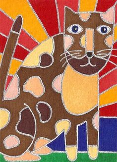 Chocolate Sun Cat by David Venne - a needlepoint kit from The Silk Mill complete with all the silks.