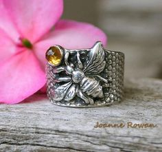 Sterling Silver Rings You Can Call Me Queen Bee. Sterling Silver Bee Ring with Citrine - Bee Jewelry, Clay Jewelry, Vintage Jewelry, Gold Jewellery, Bee Ring, Queen Bees, Sterling Silver Jewelry, Jewelry Design, Bling