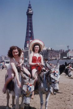 40s bathing suits color found photo red white British seaside holidays - donkey rides on the beach