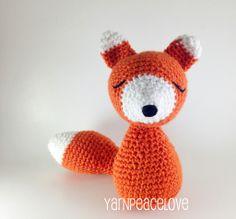 Sleepy Fox crochet doll by YarnPeaceLove #yarnpeacelove