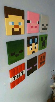 minecraft crafts for boys / minecraft crafts Minecraft Room Decor, Minecraft Wall, Minecraft Crafts, Minecraft Houses, Minecraft Furniture, Minecraft Skins, Boys Minecraft Bedroom, Minecraft Party Decorations, Minecraft Party Ideas