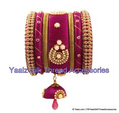Yaalz Silk Thread Partywear Bangle Set In Burgundy Pink & Gold Colors Silk Thread Bangles Design, Thread Jewellery, Hand Jewelry, Bangle Set, Indian Jewelry, Pink And Gold, Jewelery, Burgundy, Indian Fashion