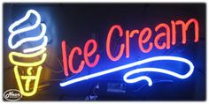 Ice Cream Neon Sign Neon Food, Ice Cream Cart, Neon Signs, Trucks, Cars, Ideas, Decor, Ice, Decoration