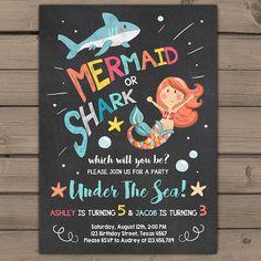 Shark or Mermaid birthday invitation Joint by Anietillustration