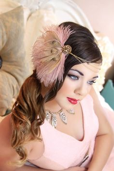 Magnificent Mauves Blonde Peacock Fascinator by TheHauteFeather