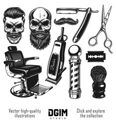 Find Set Vintage Monochrome Barber Tools Elements stock images in HD and millions of other royalty-free stock photos, illustrations and vectors in the Shutterstock collection. Thousands of new, high-quality pictures added every day. Barber Tattoo, Barber Logo, Barber Shop Interior, Barber Shop Decor, Old School Barber, Tatto Old, Hairdresser Tattoos, Outdoor Fotografie, Barbershop Design