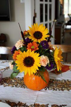 Pumpkin Flower Arrangement {Thanksgiving Centrepiece} - Life at Cloverhill Seasonal Flowers, Fall Flowers, Purple Flowers, Wedding Flowers, Thanksgiving Flowers, Thanksgiving Centerpieces, Pumpkin Centerpieces, Thanksgiving Table, Wedding Centerpieces