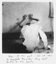 """Francesca Woodman, """"Then at one point I did not need to translate the notes; they went directly to my hands,"""" 1976. Gelatin Silver Print."""