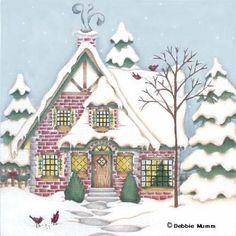 Melissa Shirley Designs   Hand Painted Needlepoint   Conifer Cardinal Cottage © Debbie Mumm