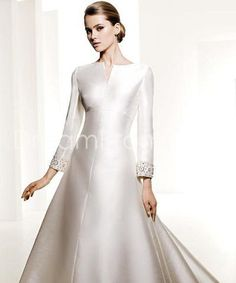 Modest Taffeta Long Sleeves Wedding Dresses Chapel Train $181.89