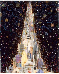 Fred Tomaselli: Burning Tower of Peace Towers, 2007, photo collage, acrylic, gouache, and resin on wood panel,
