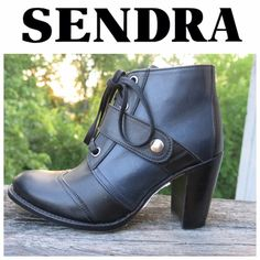 """Sendra Black & Blue Leather Lace Up Booties The Sarina Ankle Boot  Wing Tips Black and Blue Real Leather  Black Flat Wax Laces Silver Hardware  3 1/4"""" Heel Real Leather Sendra Boot. Handmade with Good Year Welted. Made in Spain  Original $300 Great Condition! Worn once indoors for only a few hours. No signs of wear, scratches or damage. Original box not included. Sized as a 6 but runs larger. Better Fits a 6.5. Sendra Shoes Ankle Boots & Booties"""