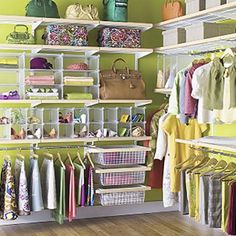 I want my closet to look like this...bright, open, organized...I have the space (just not the shelving & patience to do it)!