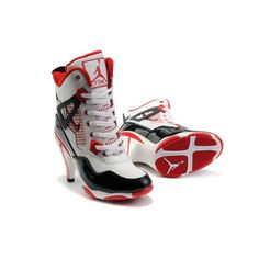 Air Jordan 4 IV Womens Heels Ankle Boots White Black Red shoes