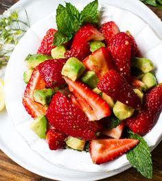 Ginger-Mint-Lemon Strawberry + Avocado Salad.