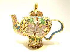 CT105: Chinese Vintage Cloisonne Tea Pot Bronze Brass Copper Enamel Handmade | eBay