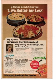 Vintage 1977 Martha Gooch Pasta Recipe Magazine Advertisement Ad Page in Collectibles, Advertising, Food & Beverage Retro Recipes, Old Recipes, Vintage Recipes, Cookbook Recipes, Kitchen Recipes, Pasta Recipes, Great Recipes, Cooking Recipes, Cooking Tips